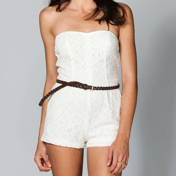Mimi Chica Lace Tube Romper Cream  In Sizes