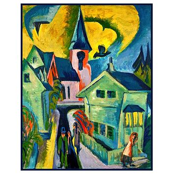 Church and Houses in K??nigstein Germany by Ernst Ludwig Kirchner Counted Cross Stitch Pattern