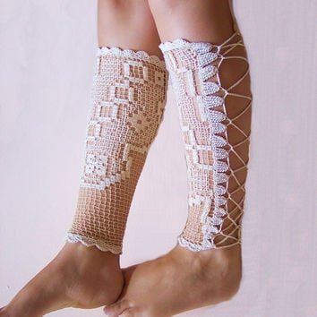 Vintage 1930's wedding shoes - victorian laced up leg warmers, wedding boots, nude tights socks - sexy anklet jewelry by Jenit Boutique
