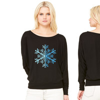 2 Color Winter Snowflake women's long sleeve tee