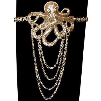 Octopus Arm Band Armband Armlet with Draped Body Chain, Quality Made in USA!, in Antique Brass