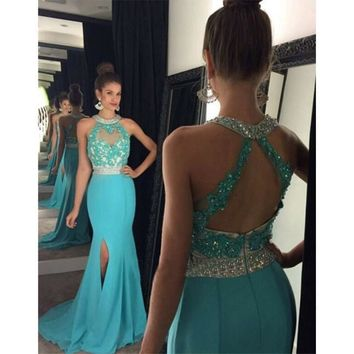 Robe Soiree Longue Femme Turquoise Mermaid Prom Dresses 2016 Sequins Beaded Appliques Slit Side Backless Women Formal Prom Gowns