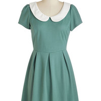 Vintage Inspired, 60s, Mod, Quirky, Scholastic Short Length Short Sleeves A-line Record Time Dress in Sage