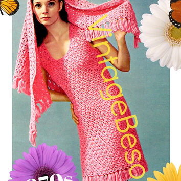 Ladies Dress Crochet Pattern • PdF Pattern • Sexy Fringe Dress with Stole Crochet Pattern • Stole for Cool Summer Evenings • Vintage 1970s