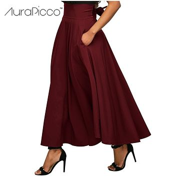 Retro High Waist Back Bow Belted Pleated Long Maxi Skirt Vintage Elegant Big Swing Party Skirt 2017 Autumn Winter New AuraPicco