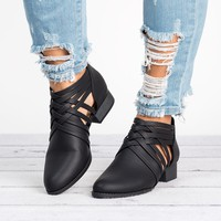 Criss Cross Booties - Black