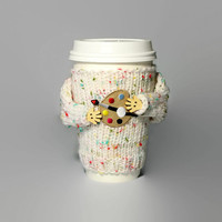 Artist coffee cozy. Teacher gift. Back to school cup cover. Travel mug cozy. Funny coffee. Bohemian artist gift. Mug sweater. Starbucks cup.