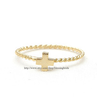 sterling silver, tiny cross ring