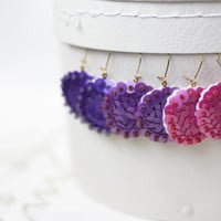 3 Set of Earrings Sequins embroidered felt Purple Orchid Pink