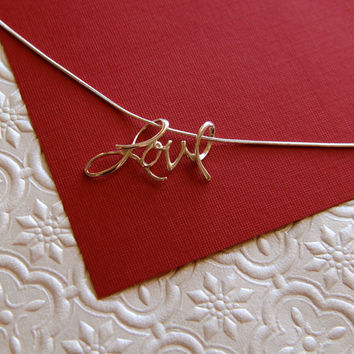 Sterling silver cursive love pendant necklace by jersey608jewelry
