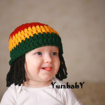 Baby Hats Rasta Beanie Baby Wig Photo Props Toddler Costume Photography Prop Yellow Rasta Baby Rasta Dreads Black Dreadlocks Baby Wig