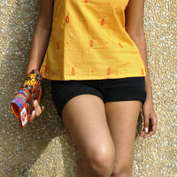 Blue and yellow hand pained and embroidered cotton top