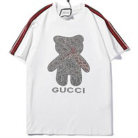 GUCCI 2019 new side ribbons bear hot drilling letter printing round neck half sleeve T-shirt white