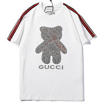 e62868e859b GUCCI 2019 new side ribbons bear hot drilling letter printing round neck  half sleeve T-