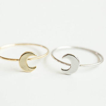 SMJEL 2017 Hot Sale Smart Cute Moon Rings Simple Flat Crescent Moon Knuckle Ring Knuckle Half Moon Rings For Women' Gift  R133