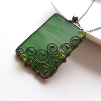 Stained glass necklace, copper wire pendant, contemporary necklace, green stained glass, green beads, wire snail, funky jewelry, Snail