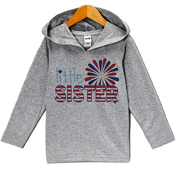 Custom Party Shop Baby Girl's Little Sister 4th of July Hoodie Pullover