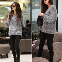 Women Casual Crew Neck Knitted Cardigan Loose Sweater Knits Gray Pullover Tops 7_S