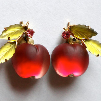 Austrian Cherry or Apple Fruit Earring. Cut frosted glass leaves. Clip. Rhinestone