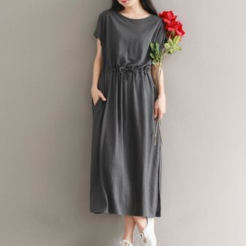 Vintage Midi Dress Summer Casual Loose-Waisted Female Robe Gown Batwing Sleeve Cotton Linen Split Mori Girl Dress