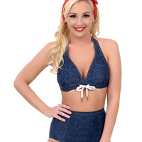 Navy Faux Denim Daisy Duke Lace Me Up Halter Swim Top