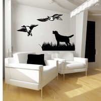Labrador and Ducks Vinyl Wall Decal Sticker Graphic Mural By LKS Trading Post