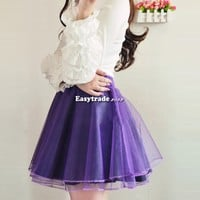 Women Girl Lady Gauze Tutu Puff Bubble Skirts Long Elastic Waistband Pettiskirt