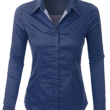 LE3NO Womens Polka Dots Button Down Long Sleeve Tailored Shirt