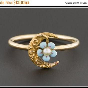 ON SALE Crescent Moon Stick Pin Conversion Ring |Crescent Moon & Forget-Me-Not Flower