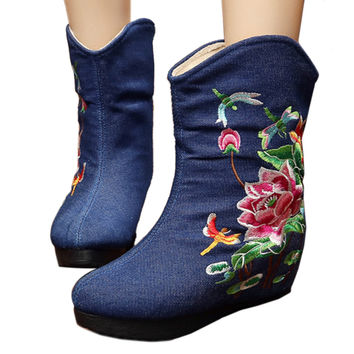 Vintage Beijing Cloth Shoes Embroidered Boots jeans