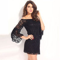 Off Shoulder Angel Sleeve Floral Lace Mini Dress