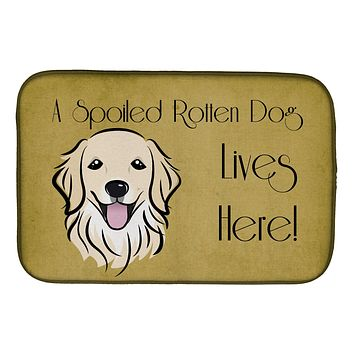 Golden Retriever Spoiled Dog Lives Here Dish Drying Mat BB1453DDM