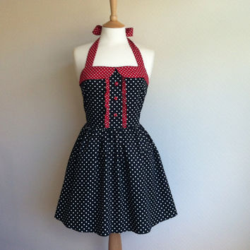 NEW- Retro Dress, MEDIUM SIZE, white polka dot on a black fabric, white dots on red, fully lined.