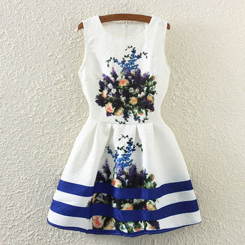 Summer Vintage Floral Print Slim Sleeveless Vest Dress One Piece Dress [4919365380]