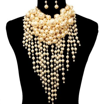 Dramatic Chunky Pearl Necklace Set