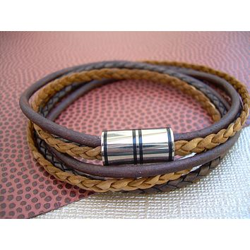 Mens Double Wrap Leather Bracelet, Triple Strand, Stainless Steel Magnetic Clasp, Mens Jewelry, Fathers Day, Groomsmen, Mens Gift, Groom