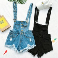Fashion women suspenders overalls denim jean shorts romper-1