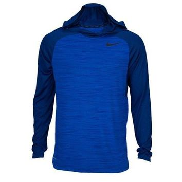 Nike Men's LS Dri-FIT Touch Hoodie Shirt (Large) Royal Blue/Navy Blue 696063