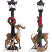 Jolly Holidays Collection Lamp Post w/Deer (Set of 2)