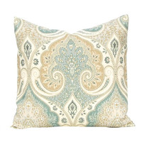 Latika Pillow Cover, Decorative Pillow Cover, Designer Linen Fabric, Seafoam Green and Beige, Throw Pillows Same Fabric Front and Back