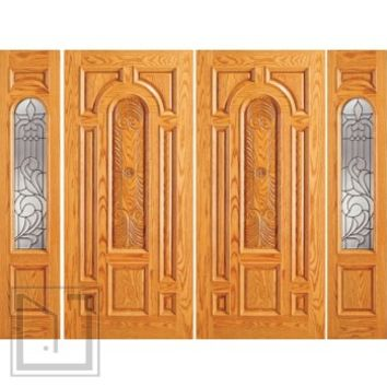 Prehung Mahogany Arch Lite Entry Double Door Two Sidelights