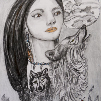 Native american symbols is a 9x12 inch mixed medium displaying young girl,wolves ,moon,  jewelry these are symbolic of american indians