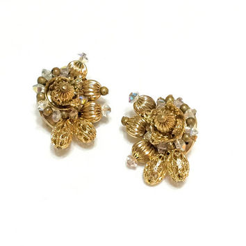 Hobe Goldtone Cluster Earrings, Small Ear Climbers, Filigree Beads & Crystals, 1950s, Vintage Statement Special Occasion Wedding Jewelry