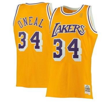 Men's Los Angeles Lakers Shaquille O'Neal Mitchell & Ness Gold 1996-97 Hardwood Classics Swingman Jersey