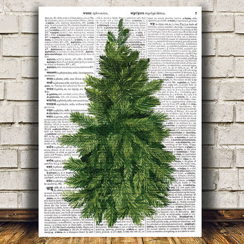 Pine tree print Tree art Watercolor poster Dictionary print RTA1415