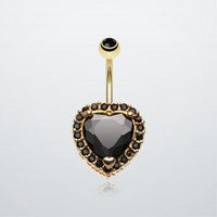 Extravagant Heart Gem Belly Button Ring