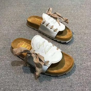 Roger Vivier Fashion Women Casual Summer Leather Ribbon Bandage Slipper Sandals Shoes White I-AGG-CZDL