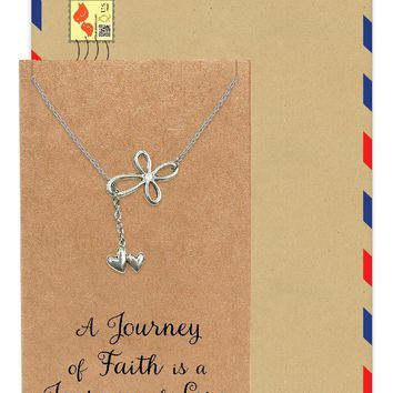 Earleen Infinity Cross and 2 Hearts Pendant Necklace, Religious Jewelry