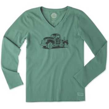 Women's Old School Truck Long Sleeve Crusher Vee