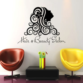 Wall Decal Fashion Beauty Salon Face Girl Woman Long Hair Design Vinyl Decals Wedding Hair Salon Hairdressing Living Room Home Decor 3775